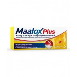 MAALOX PLUS*50 cpr mast 200 mg + 200 mg + 25 mg